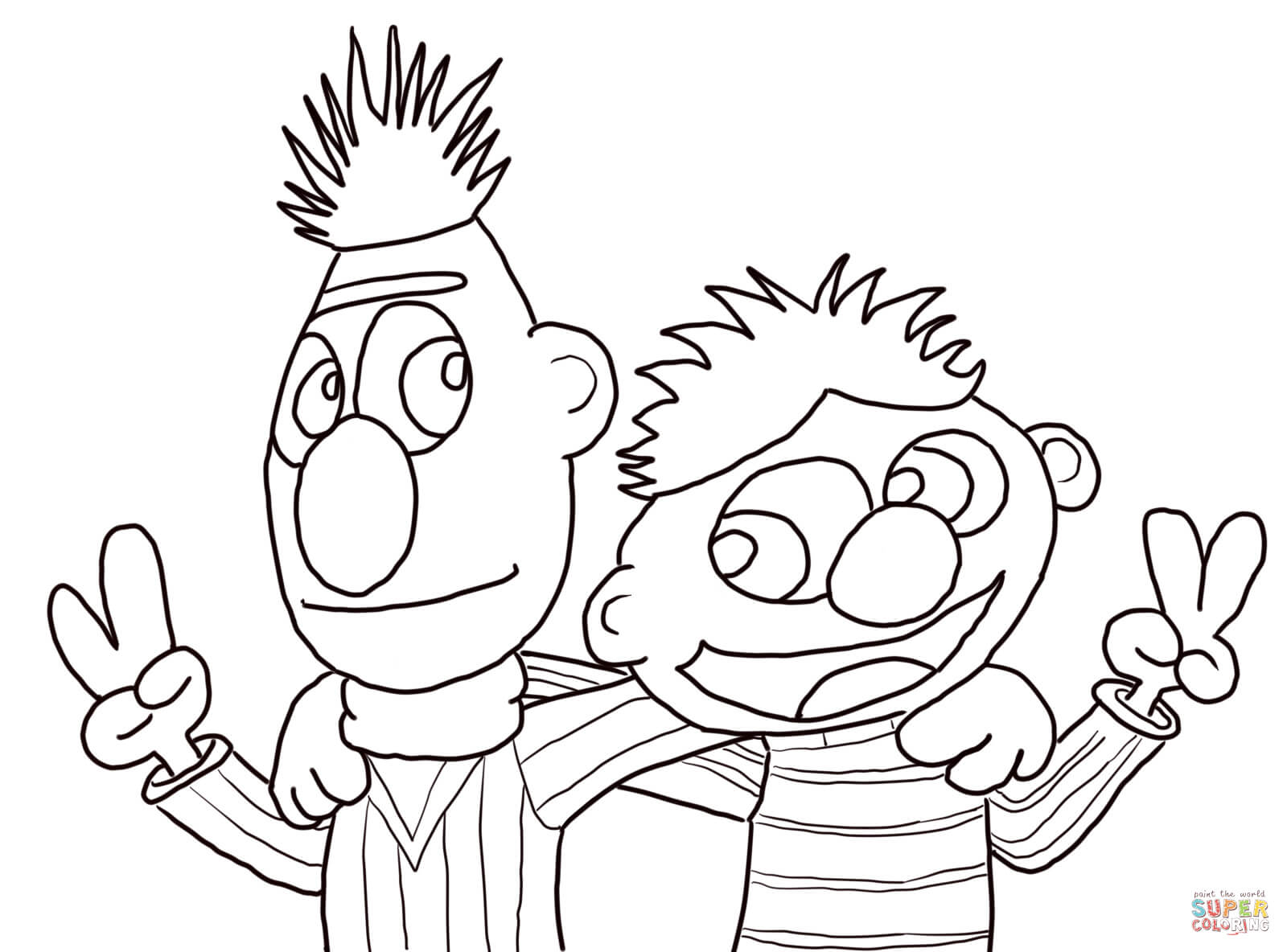 Cool Bert and Ernie coloring page | Free Printable Coloring Pages