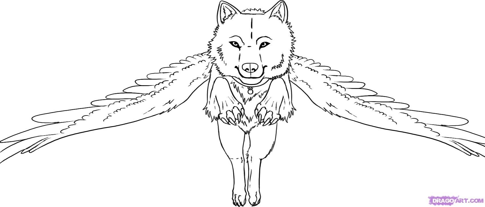 18 Pics Of Flying Cute Wolf Coloring Pages   Cute Wolf Coloring ...