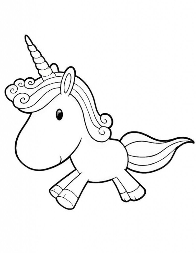 Cartoon Unicorn Coloring Pages Cute