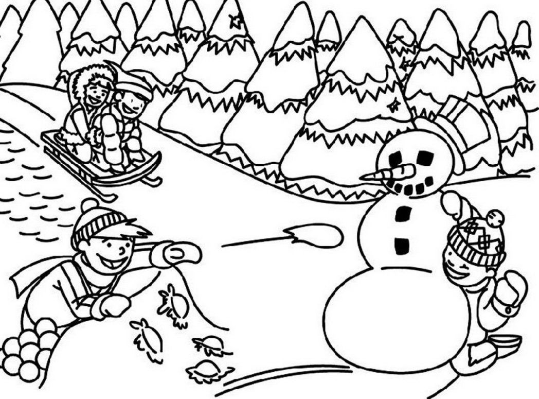 Coloring Pages Free Winter Coloring Pages For Kindergarten free winter coloring pages for kids printable az outdoor and adults