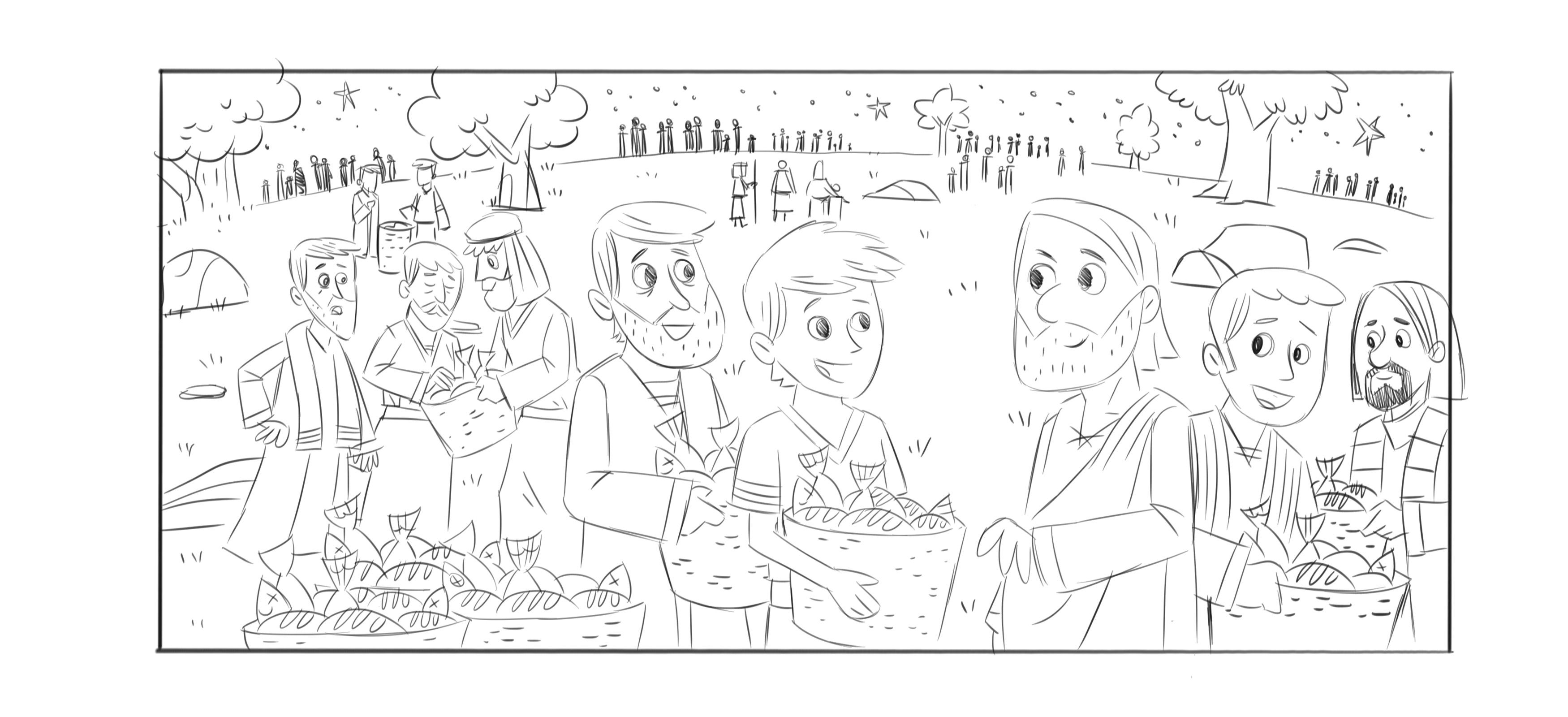 Coloring Page For Feeding The 5000 Bible Story Coloring Home