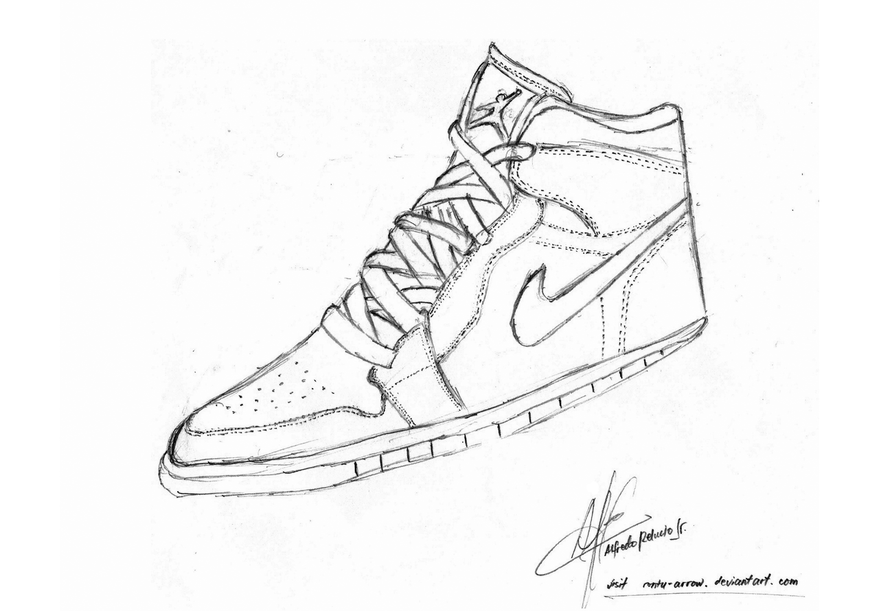 11 Pics of Drawing Shoes Coloring Pages - Jordan Retro 5 Drawing ...