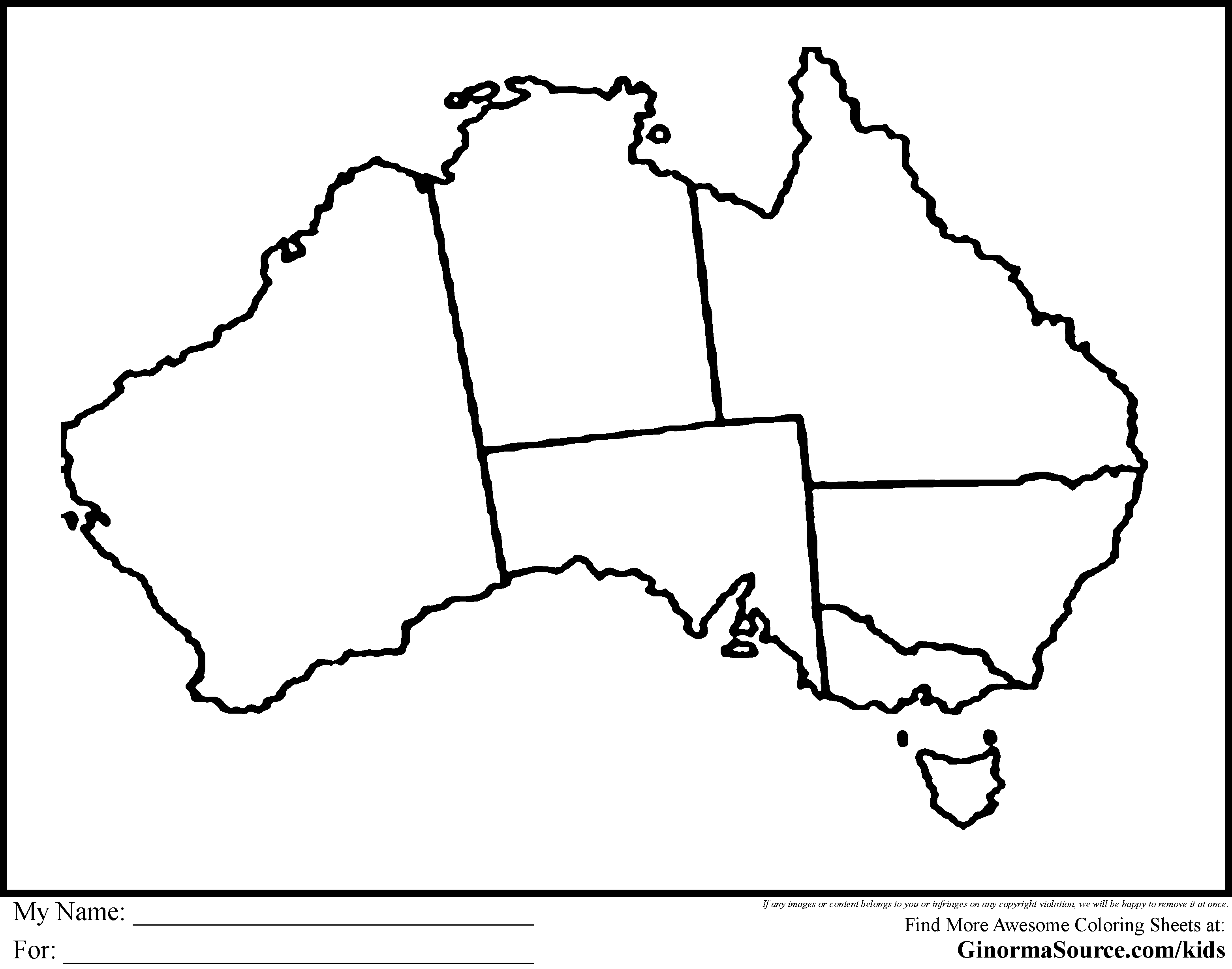 Australia coloring page coloring home for Australia map coloring page