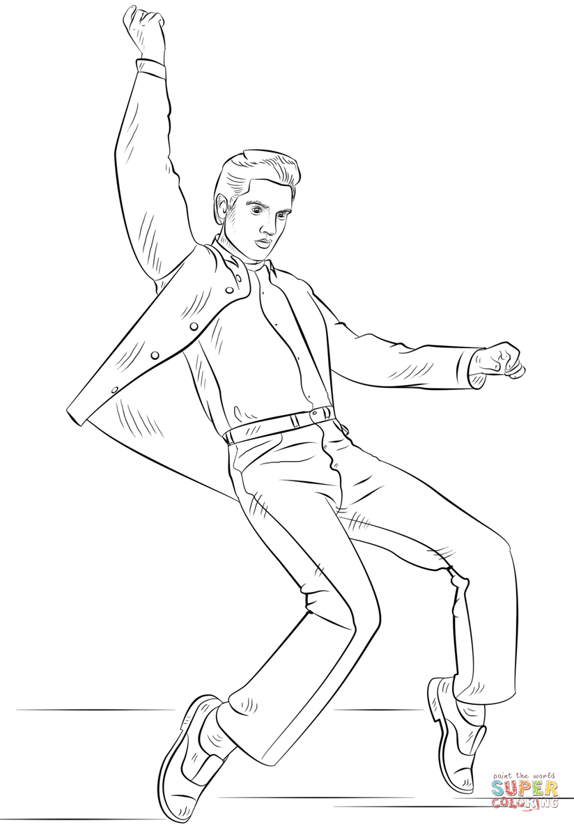 Elvis Presley Coloring Page Free Printable Coloring Pages