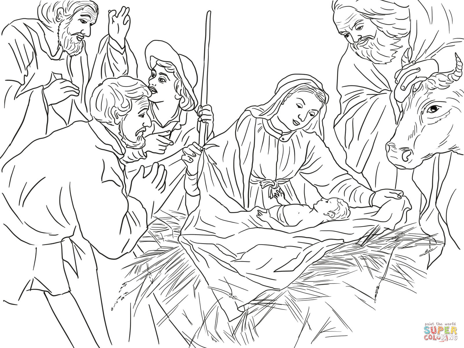 Colouring sheets nativity scene - Nativity Scene With Cute Angels And Animals Coloring Page Free