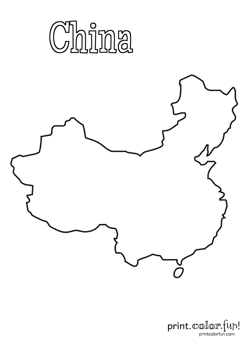 Map of china coloring page coloring home for Coloring pages maps