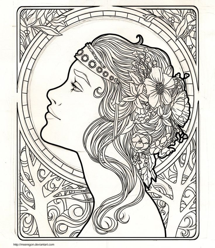 Coloring Book For Adults Pc : Art Nouveau Coloring Page Coloring Home
