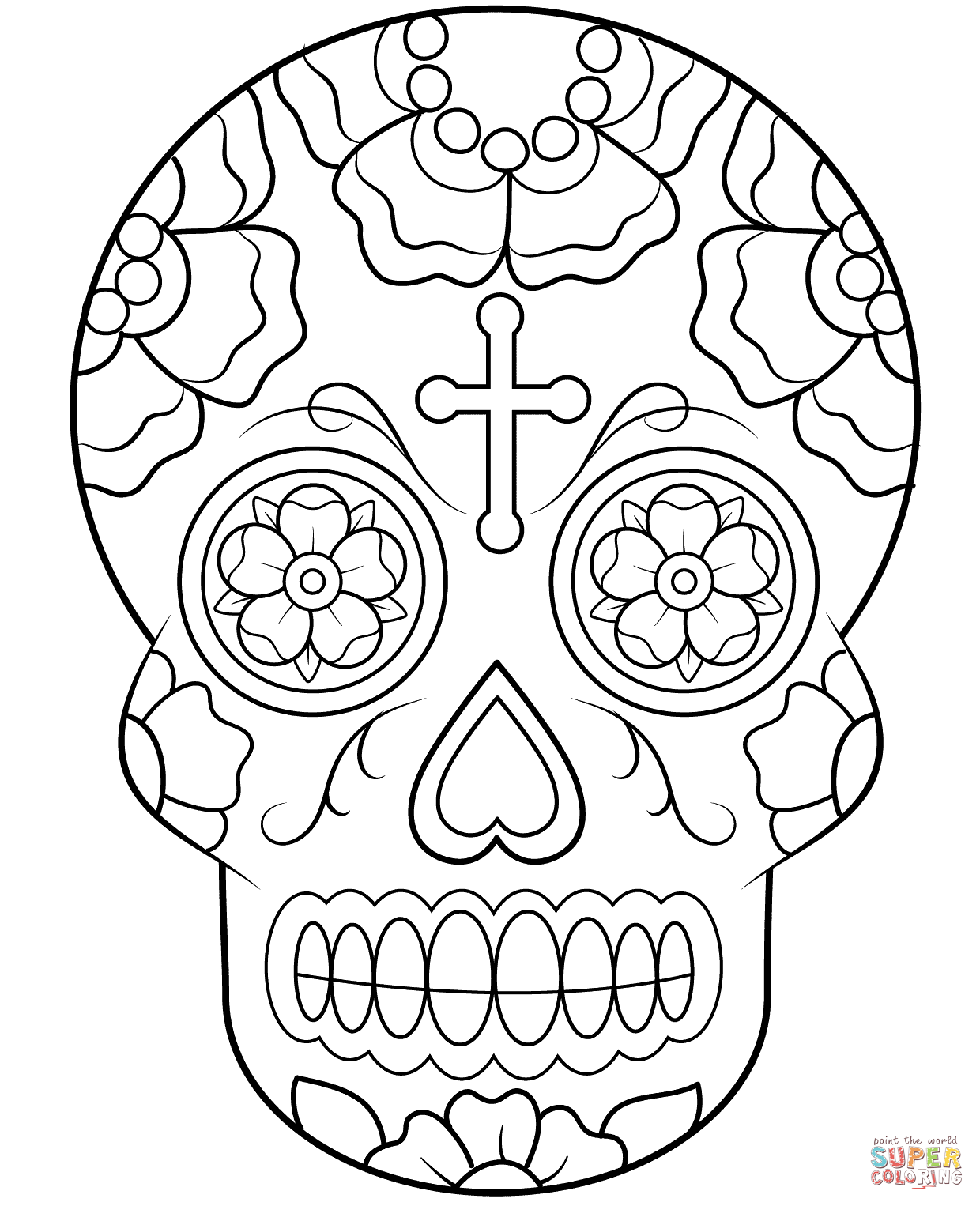 Sugar Skull coloring page | Free Printable Coloring Pages