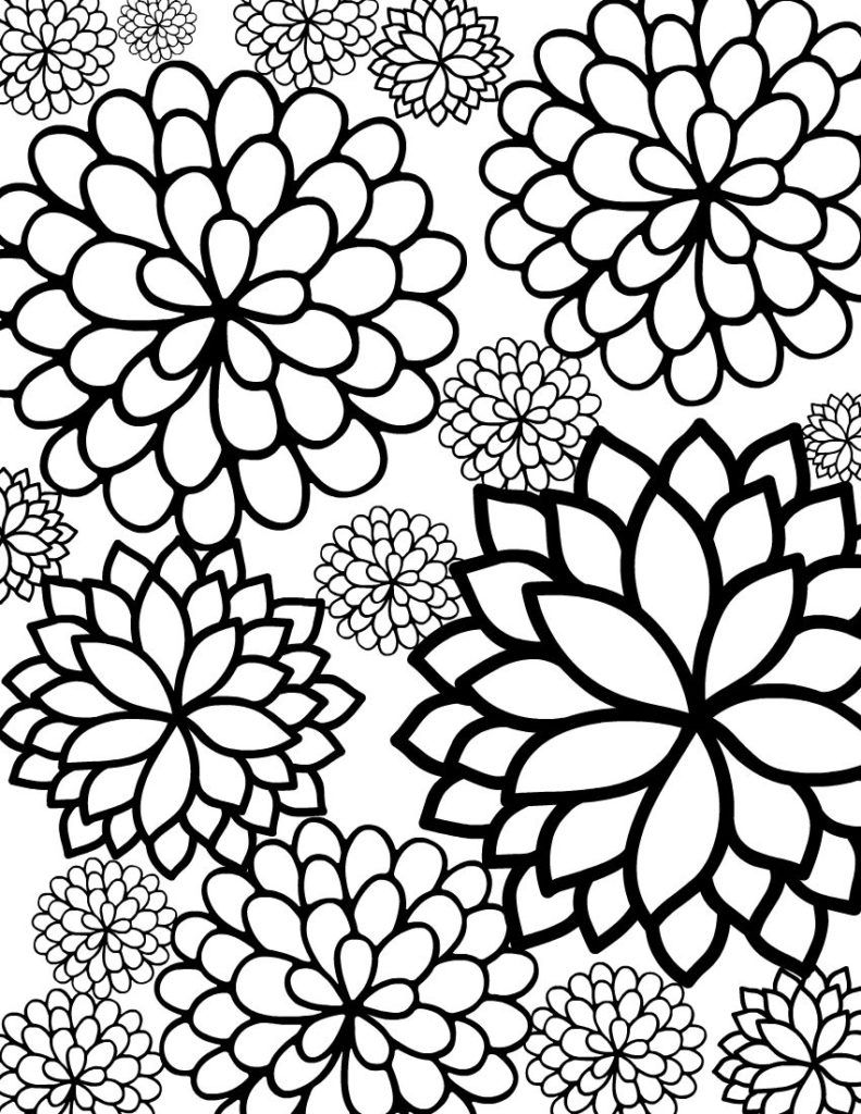 Abstract flower coloring pages - Coloring Pages Free Printable Geometric Floral Stars Coloring