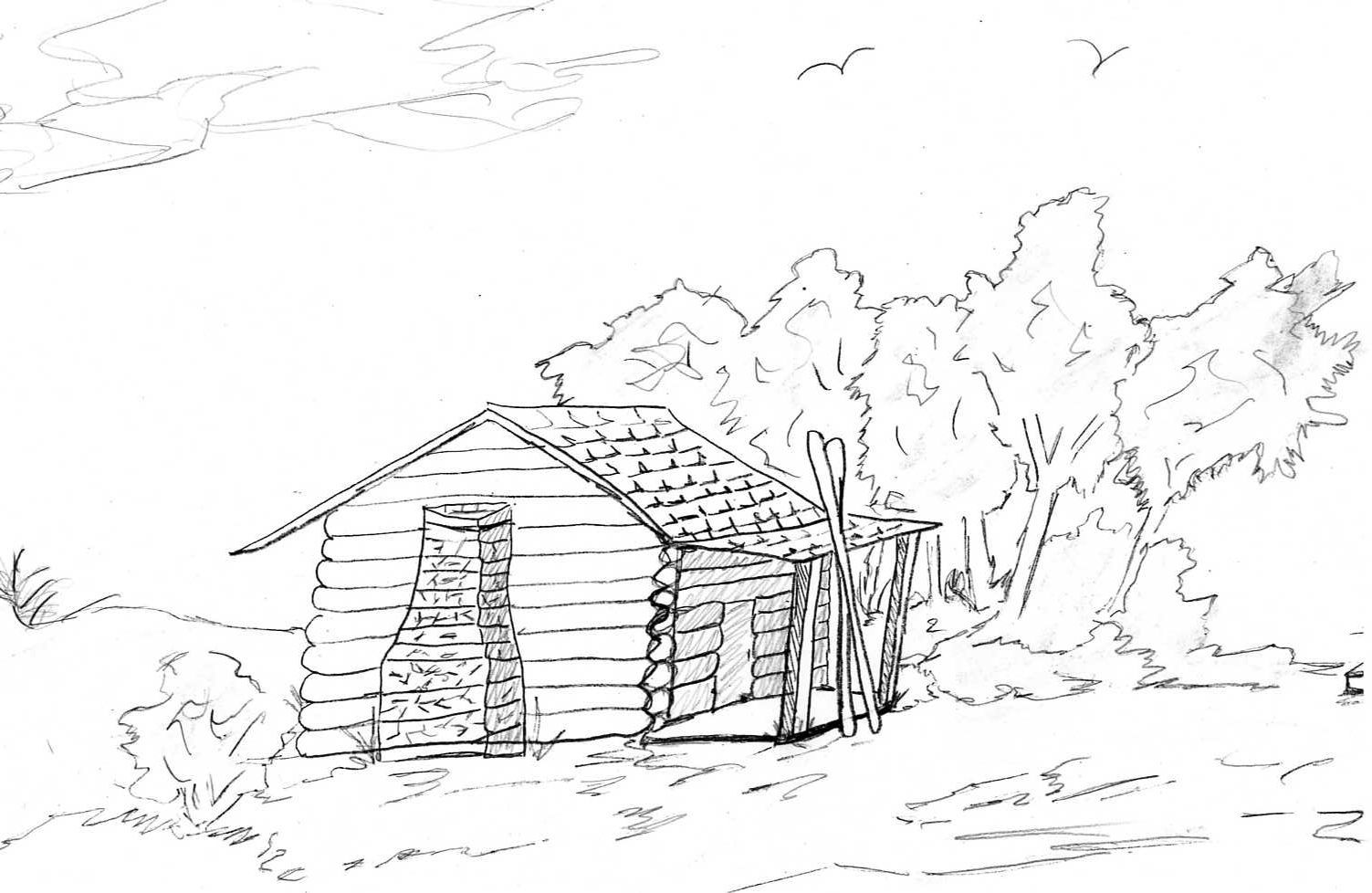 lincoln log cabin coloring page coloring page