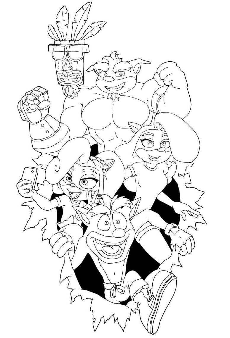 Crash Bandicoot Coloring Pages - Free Printable Coloring Pages for Kids