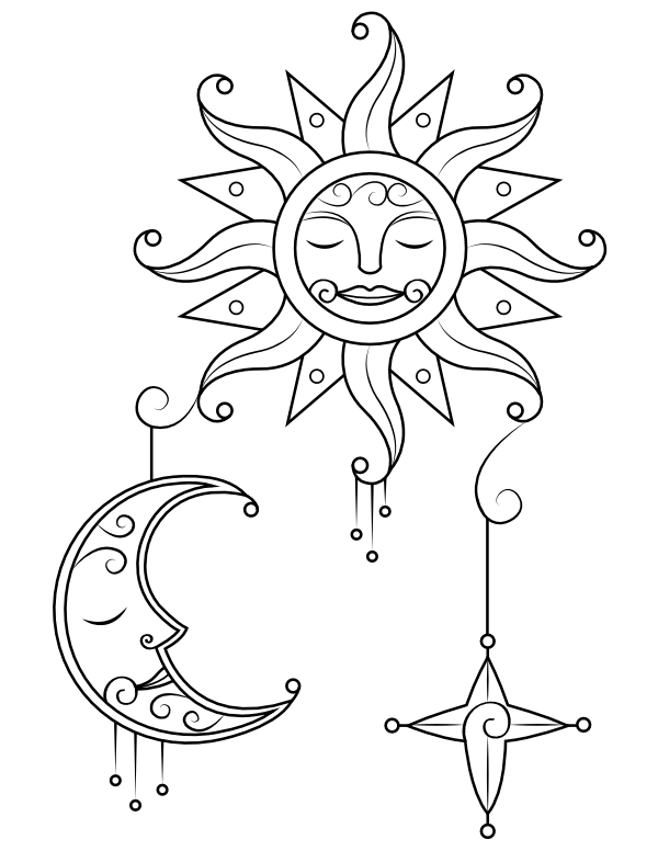 Sun Moon Coloring Pages - Coloring Home
