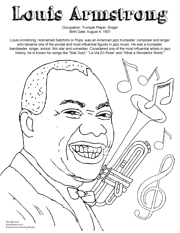 Louis Armstrong Coloring Page Coloring Home