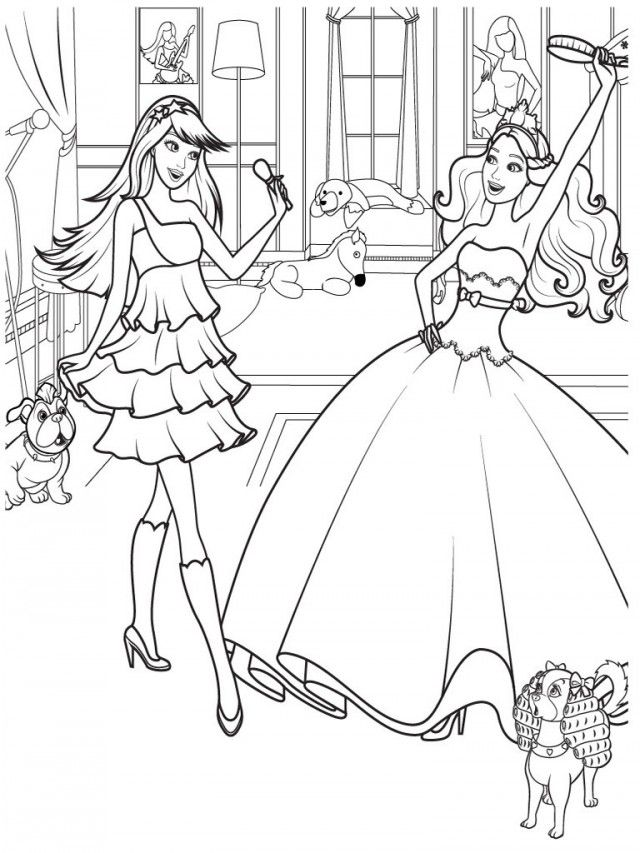 Barbie Princess And Horse Coloring Pages Free For