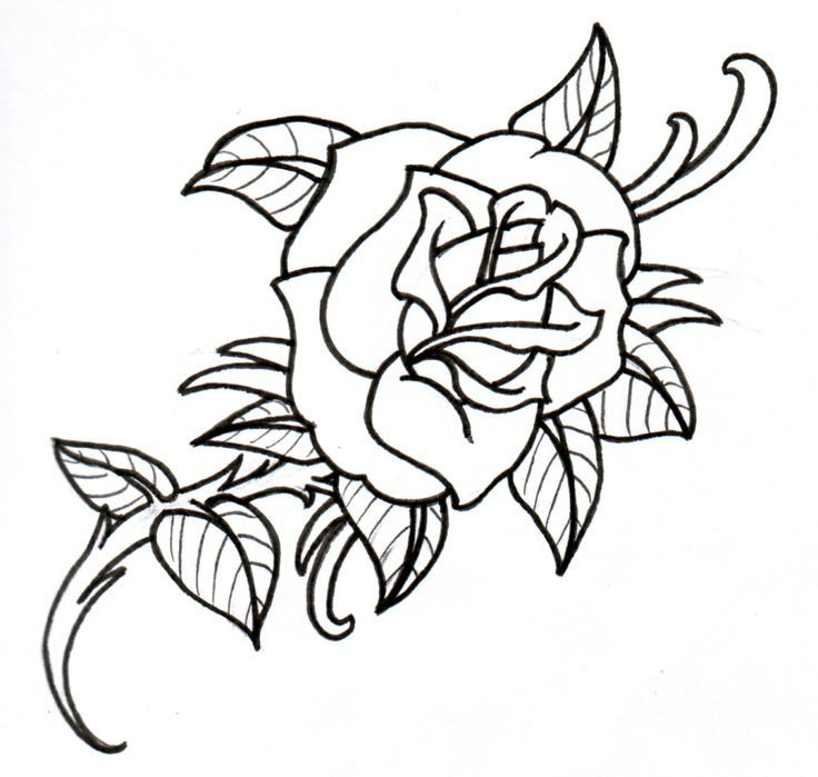 Traditional Rose Tattoo Outlines Designs
