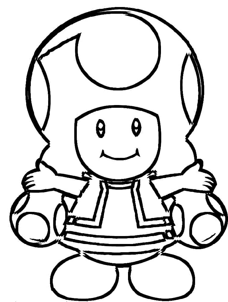 Toad Mario Coloring Pages