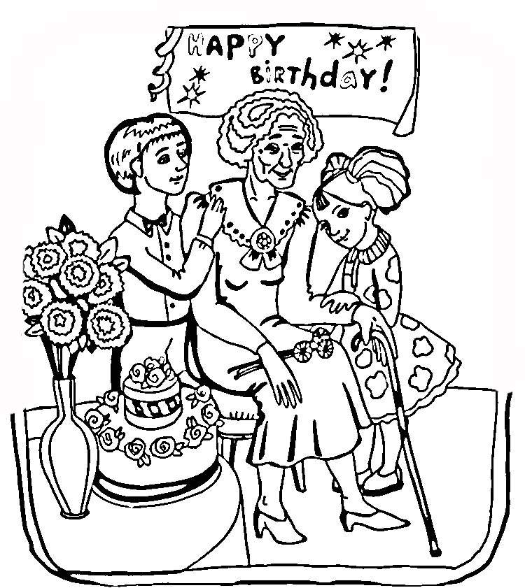 free birthday coloring pages grandmother - photo#19