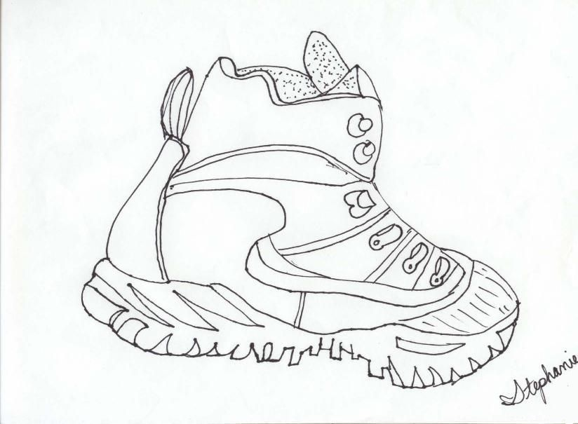 Contour Line Drawing Wikipedia : Shoe outline template coloring home