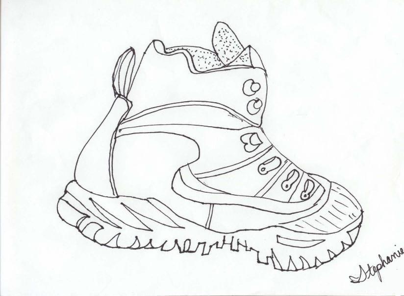Contour Line Drawings Famous : Shoe outline template coloring home
