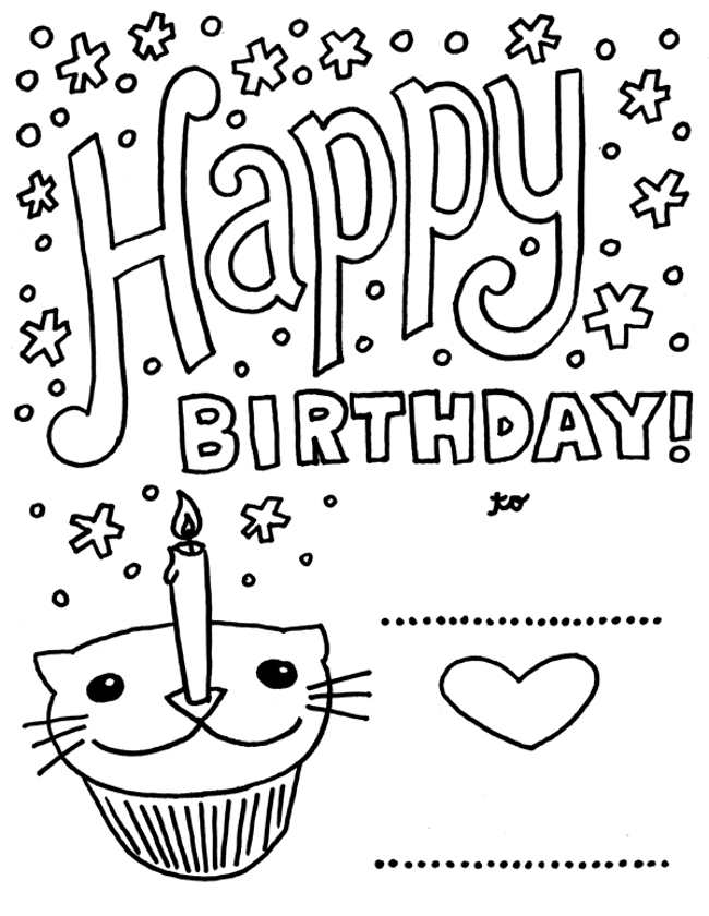 Happy Birthday Printable Cards To Color Free Reference Birthday Printable Coloring Pages