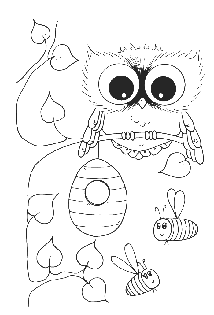 Cute Owl With Bees Coloring Pages - Owl Coloring Pages : Free