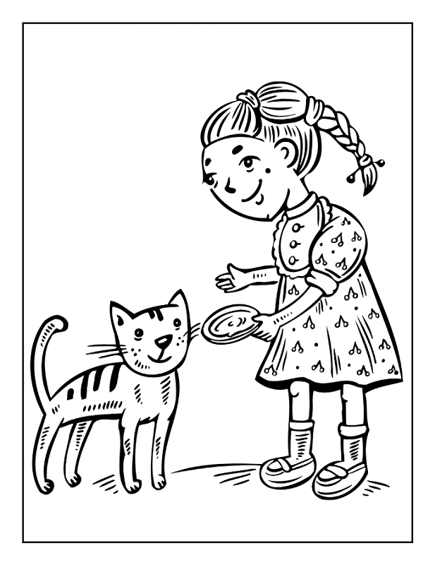 Little Girl Feeding Cat Coloring Page | Kids Coloring Page