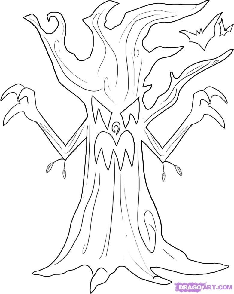 scary halloween tree coloring pages - photo#5