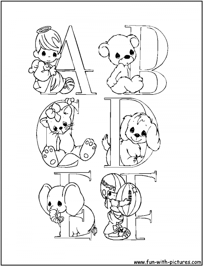 Precious Moments Alphabet Coloring