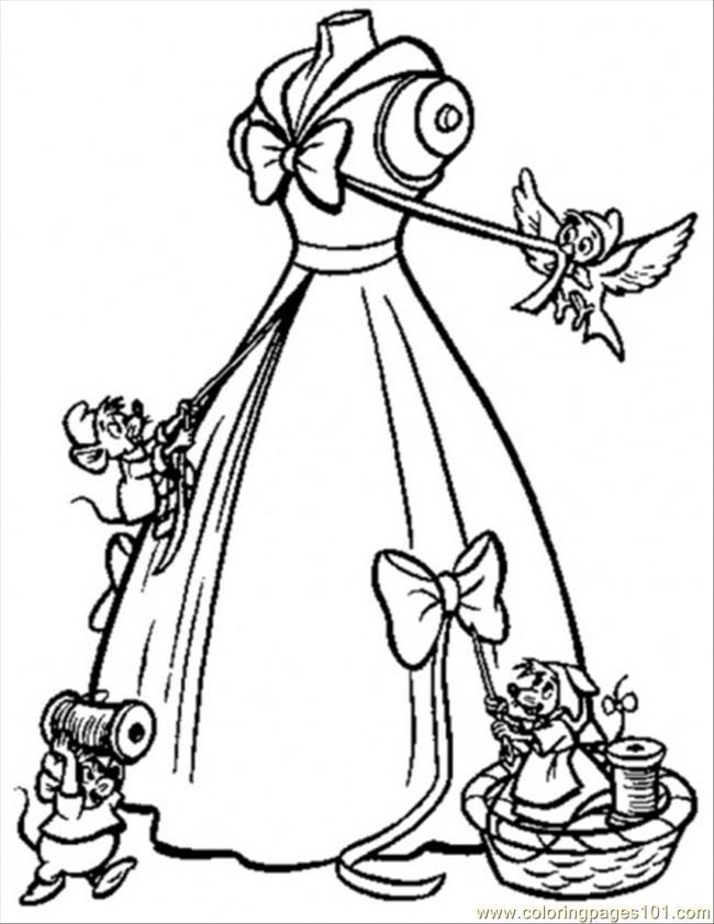 Coloring Pages The Mice Help Cinderella To Make Her Gown (Cartoons