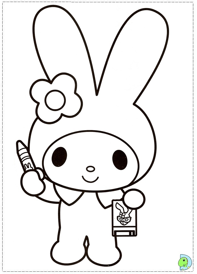 Hello Kitty And My Melody Coloring Pages : Kuromi coloring pages az
