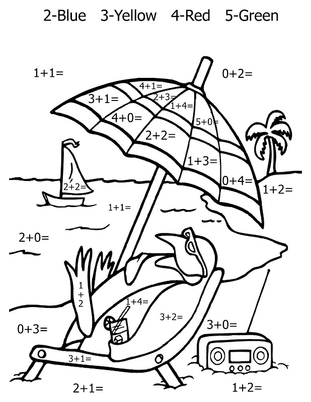 addition coloring pages color by number collections