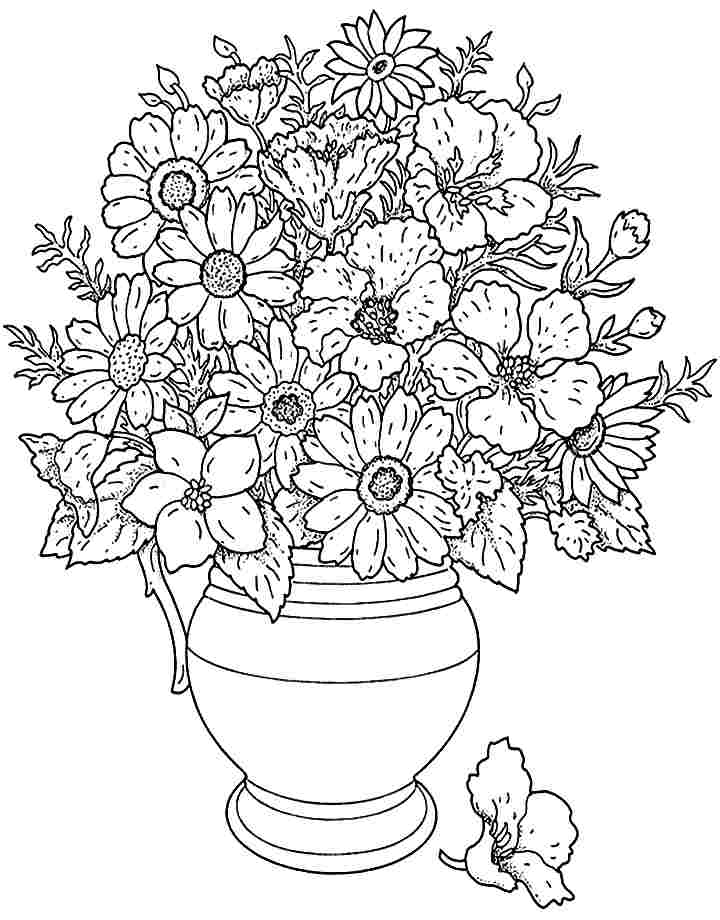 bouquet of flowers coloring page - flowers and animals coloring home
