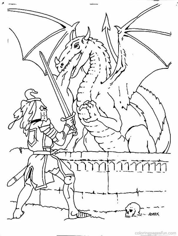 knight and dragon coloring pages - photo#28