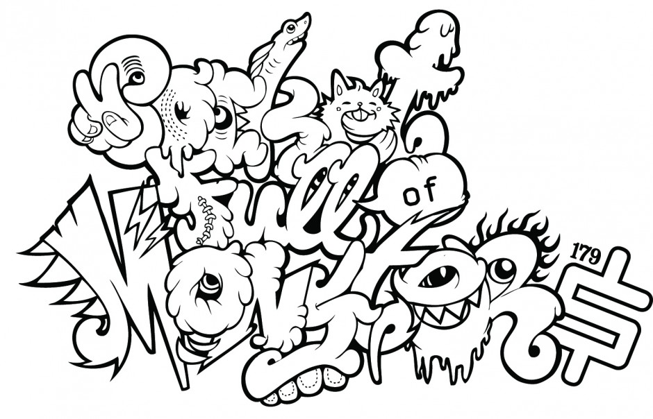 Coloring Pages Great Graffiti Coloring Pages Coloring Page Id