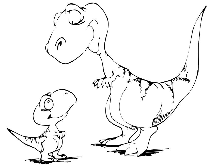 Cute Dino Coloring Pages - AZ Coloring Pages