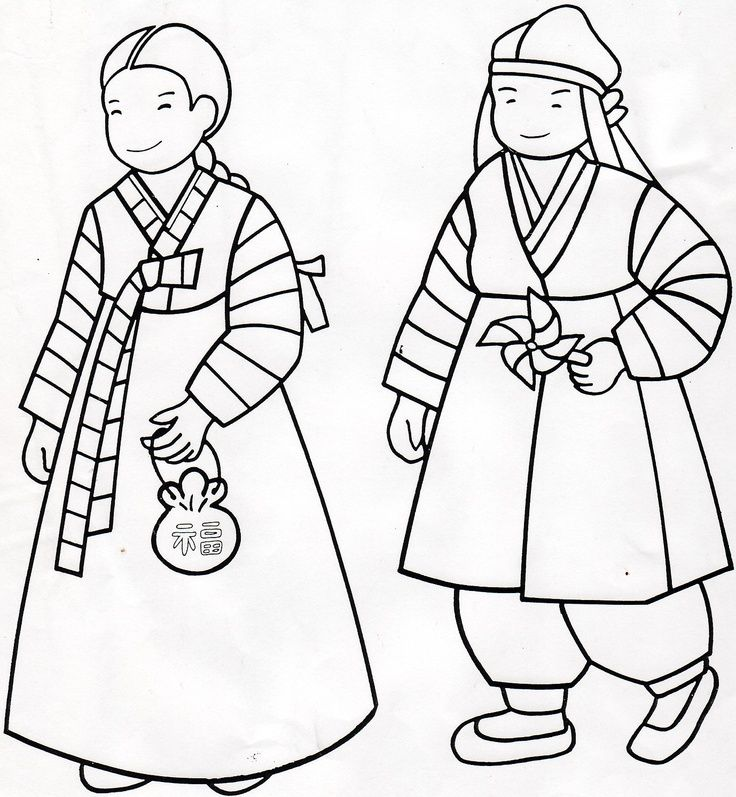 hanbok coloring page korean coloringlessons