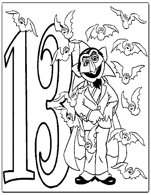 Number 13 coloring page az coloring pages for Character counts coloring pages free