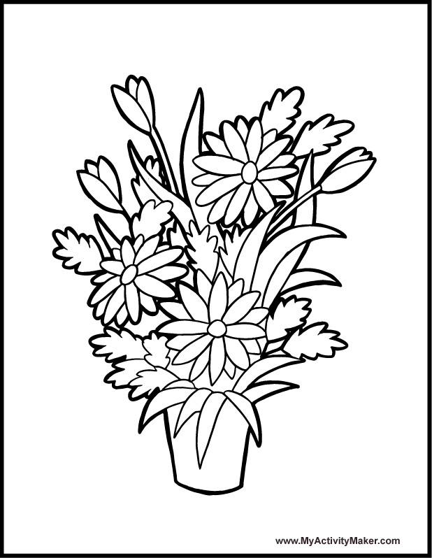coloring pages of trees and flowers - coloring book pages flowers az coloring pages