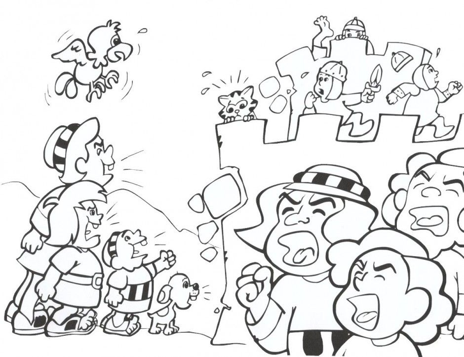Coloring Pages Jericho Wall - Coloring Home