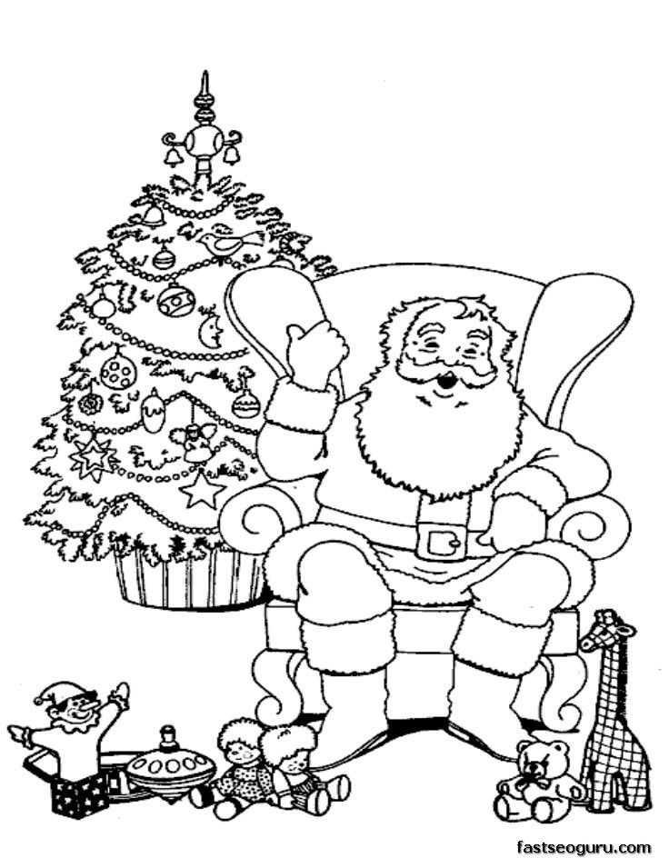 santa claus relaxing in chair coloring pages printable
