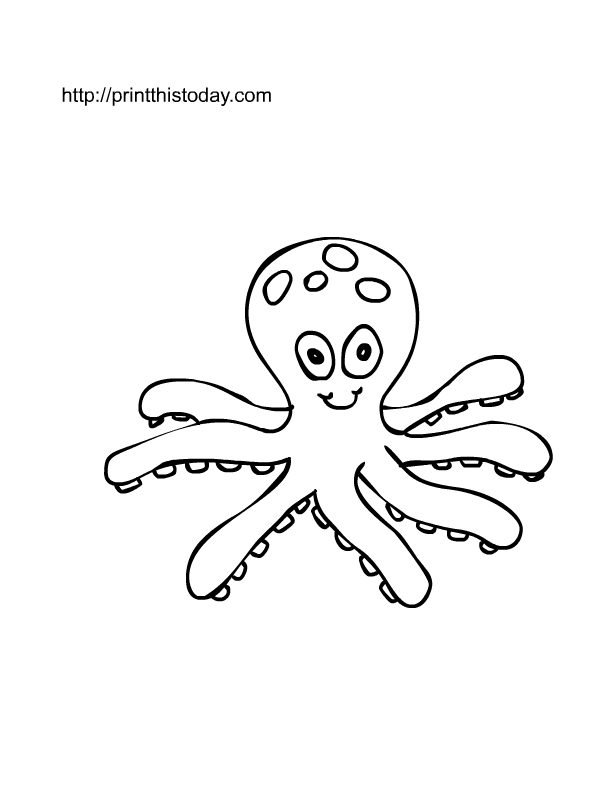 cute octopus cartoon coloring page