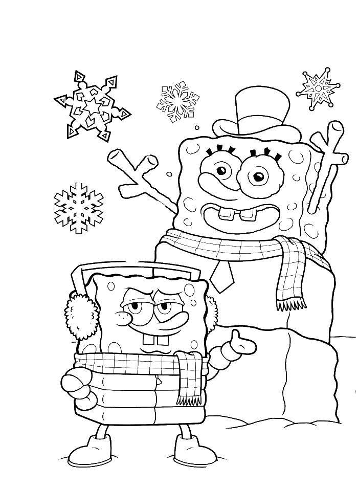Spongebob Christmas Coloring Pages Free Printable