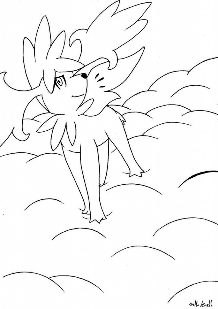 shaymin sky form coloring pages coloring pages for kids