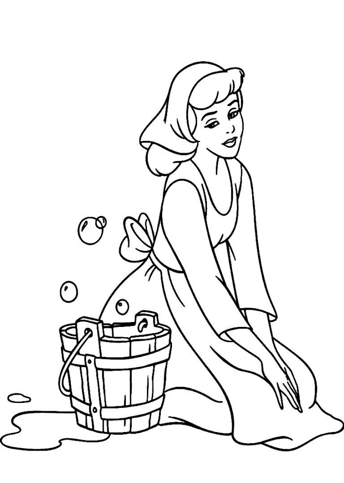 maid coloring page - cinderella maid car interior design
