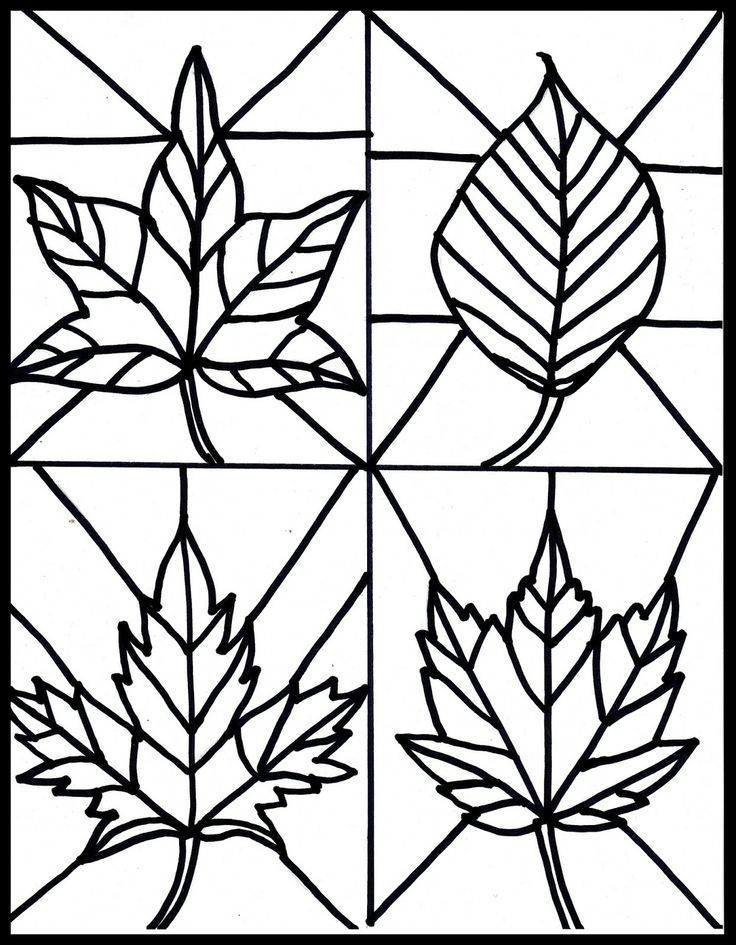 Free fall leaves stained glass printable | Window art