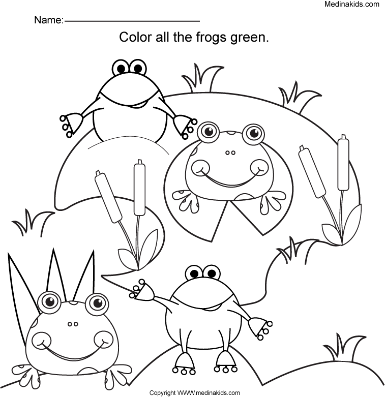 medinakids color all the frogs green worksheet