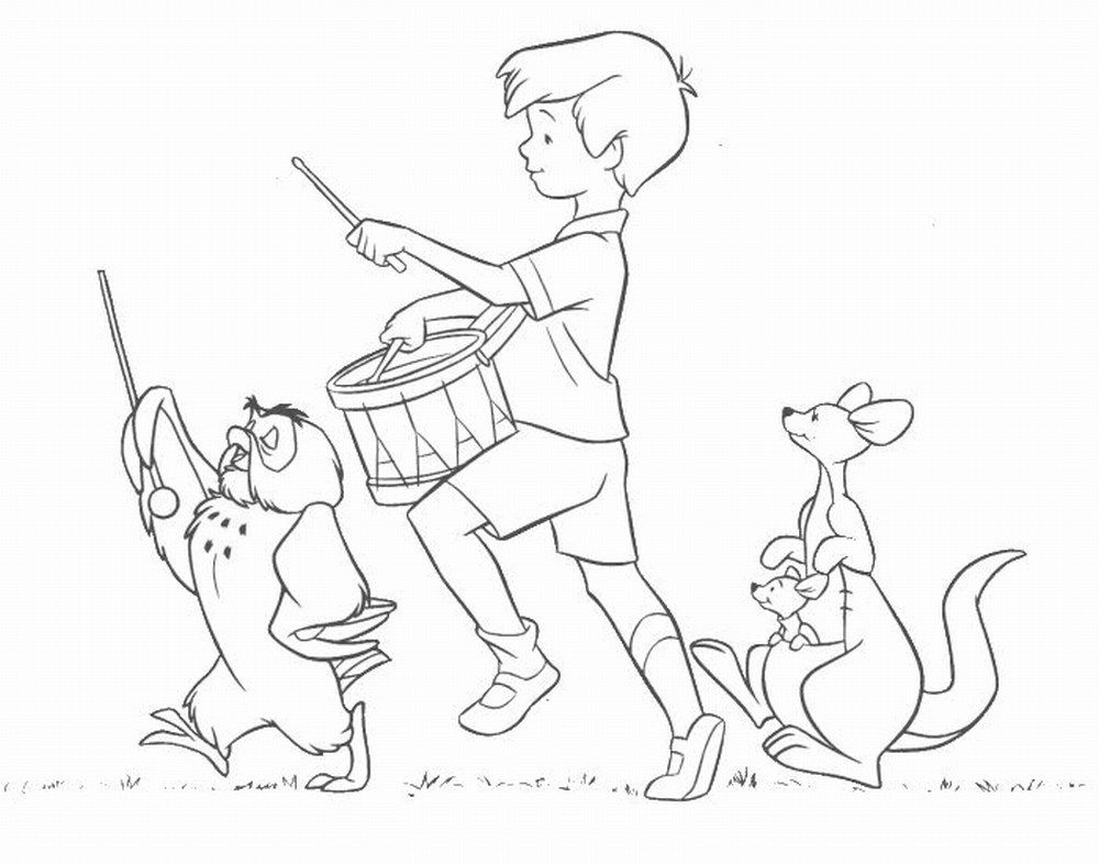 Winnie The Pooh Coloring Pages Christopher Robin Playsational