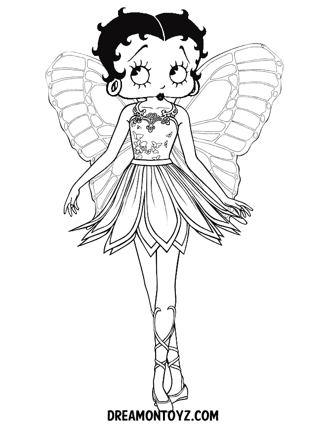 betty boop coloring pages for kids. betty boop looking at you ...
