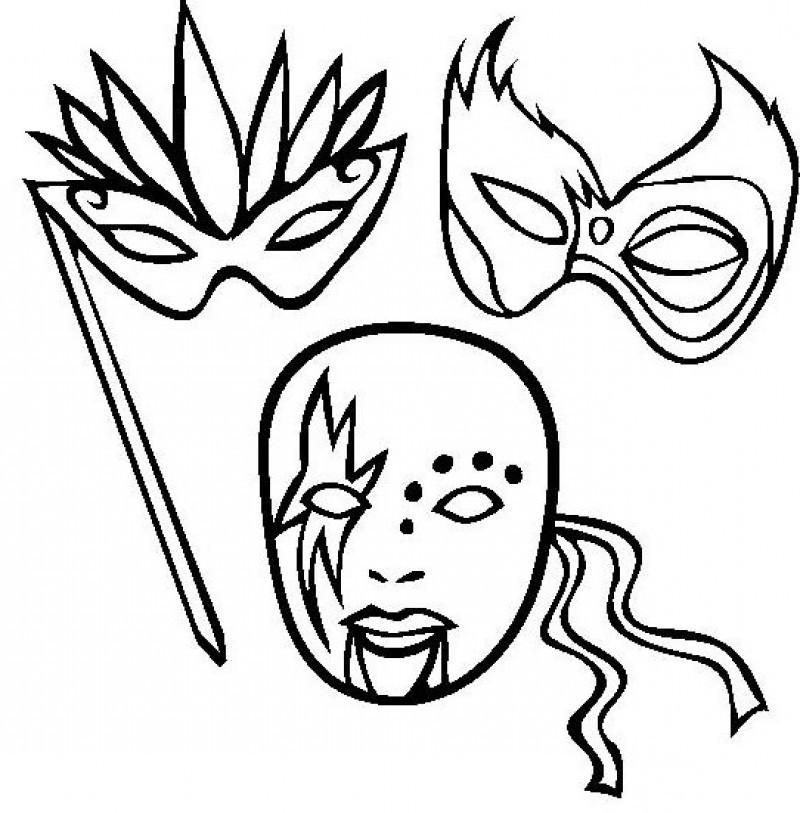 Mardi Gras Masks Coloring Pages