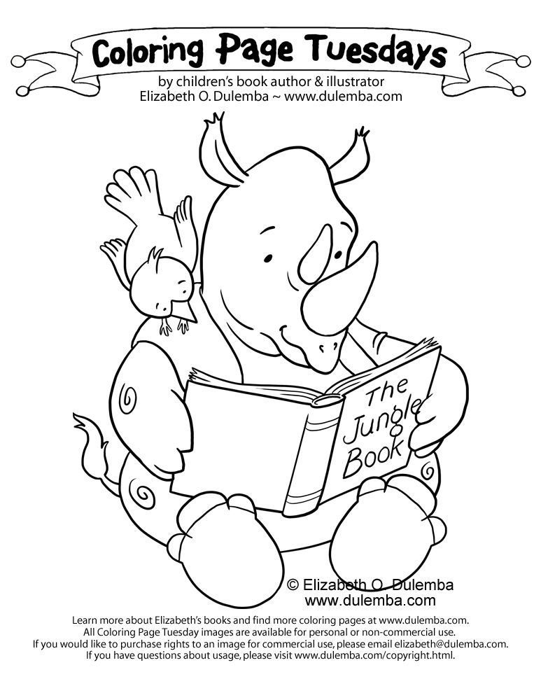dulemba: Coloring Page Tuesday - Reading Rhino!